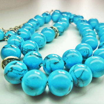 Rosary, Islamic Prayer Beads, Turquoise, 33 Beads, Turquoise Rosary, Turquoise Prayer Beads, Turquoise Beads, Fathers Day, Express Shipping