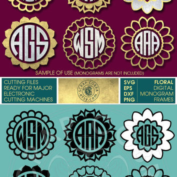 6 Floral Monogram Frames - SVG, eps, DXF, PNG - Digital Downloads - Cut Files for Silhouette, Cricuit, die cutting machines - cv-157
