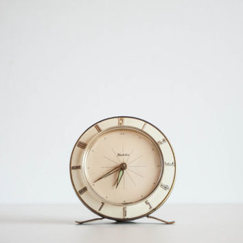 Art Deco Alarm Clock, Westclox Desk Clock, Made in Scotland, Cream white and Gold, Home Decor, Wedding Gift Idea, Ecru