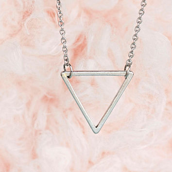 SALE - Silver Tiny Triangle Necklace, Minimalist, Geometric, Zen