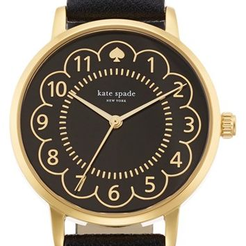 Women's kate spade new york 'metro' scalloped dial leather strap watch, 34mm - Black/ Gold