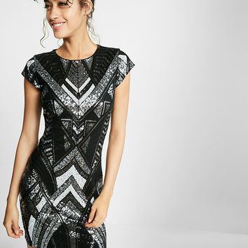 Deco Sequin Embellished Cap Sleeve Sheath Dress