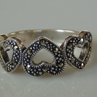 925 Sterling Silver Marcasite Hearts Ring Size 8