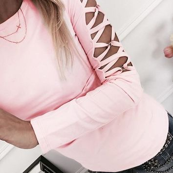 Pink Cut Out Round Neck Long Sleeve Fashion T-Shirt
