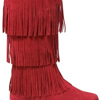 SALE Red Fringe Boots