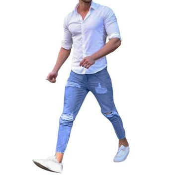 Mens Stretchy Ripped Skinny Biker Destroyed Taped Denim Jeans