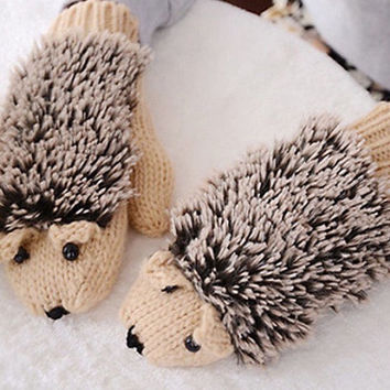 Hedgehog Porcupine knitted Winter Gloves MITTENS