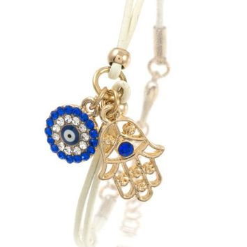 Hamsa and round evil eye charm cord bracelet