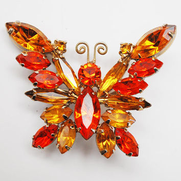 Butterfly Rhinestone  Brooch - Orange Yellow  crystal  - gold - Insect  pin - Mid Century Juliana style