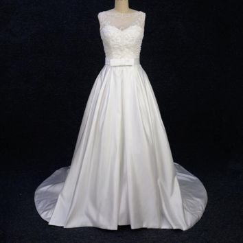 A Line Satin Pearl Beaded Wedding Dress with Bow Tie Belt and Pocket Pleated Belt Illusion Tulle Lace Neck