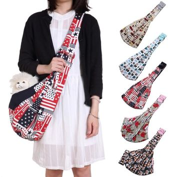 Cotton Pet Dog Sling Carrier Bag Shoulder Bags Sling Hand Bag For Small Dog Puppy Travel Carrier Tote Pet