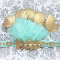 Adorable Aztec Mint Gold Feather Headband Gold Dipped Feather Headdress for Baby Girl 0-12 Months First Birthday