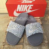 Custom Nike (Benassi) Pearl Slides Single Strap