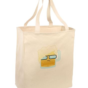 Bartleby the Hipster Beer Large Grocery Tote Bag