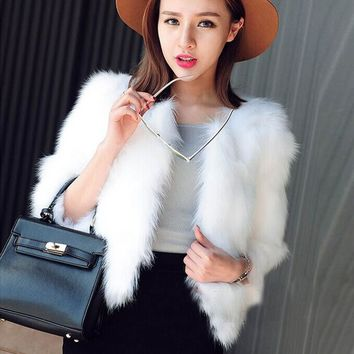 NEW FASHION Autumn Winter Women Faux Fur Soft Fur Warm Coat Long Sleeve O-Neck Jacket Elegnat Fluffy Winter Waistcoat Outerwear