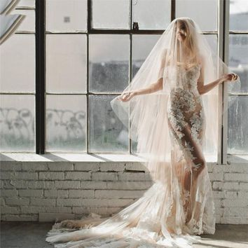 Champagne Bridal Cathedral Veil With Comb