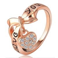 Love Heart Letter Ring 18K Gold Plated    gold plated white zircon 6.5#