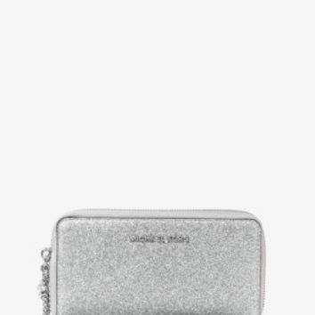 Jet Set Travel Large Glittered-Leather Phone Case | Michael Kors