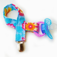 Pacifier Holder - Paci Clip - Binky Clip - Pacifier Clip - Tossed Flowers in Blue