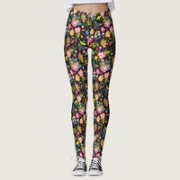 Colorful Traditional Floral Pattern Leggings