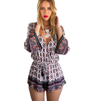 Vintage Women Sexy V-neck Floral Print Playsuit Retro Long Sleeve Party Jumpsuit Romper