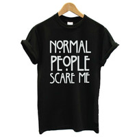 Normal People Scare Me Harajuku Women T Shirt Lady Casual Black Tops CUTE BUT PSYCHO & unicorn Tee Shirt femme camisetas mujer