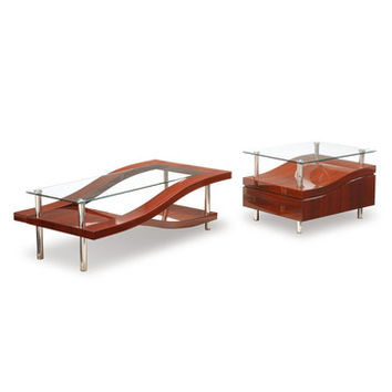 Global Furniture USA 759 Wave 2 Piece Clear Glass Coffee Table Set in Mahogany