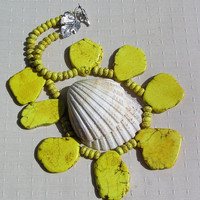 "Statement Crystal Gemstone Necklace Yellow Magnesite - ""Sun Beam"""