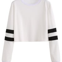 Varsity Striped Sleeve Crop T-shirt -SheIn(Sheinside)