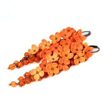 "Bright Orange Earrings ""Sun"" Long Earrings Feminine Romantic Delicate Gift for Her One of a Kind Jewelry Birght Orange Polymer Clay Flowers"