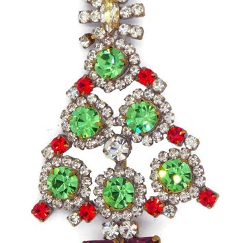 Husar D Green and Red Rhinestone Christmas Tree Brooch