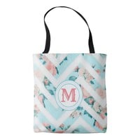 Blue Floral Monogram Chevron Pattern Tote Bag
