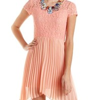 Pleated Chiffon Skater Dress by Charlotte Russe