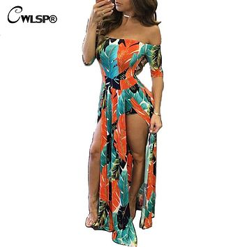 CWLSP Tight Maxi Dress Women Elegant Slash neck Long Dress High Split Night Clud Dress Evening Party Vestido QZ2046