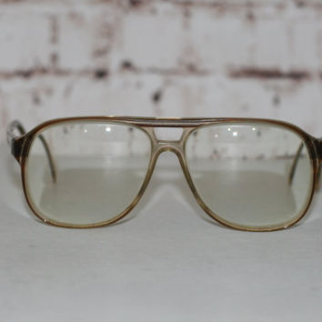 70s Eyeglasses Aviator Two Tone Brown Clear Eyewear Eye Glass Frames Glasses Hipster Retro 80s Mens Unisex Oversize Drop