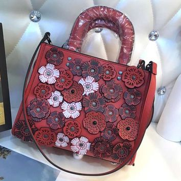 COACH Vintage Stereo Flower Tote Petal Shoulder Crossbody Bag F-BCZ(CJZX) red