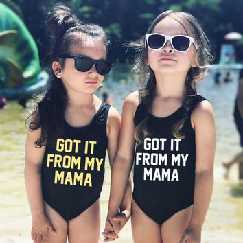 Kids Black One Piece Swimsuit Letter Print GOT IT FROM MY MAMA Baby Swimwear Cute Bathing Suit Beachwear mayo Summer Girls Swim