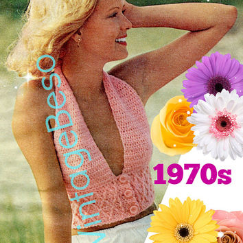 INSTANT DOWNlOAD - PdF Pattern - 3 Button Smocked Halter 1970s Vintage Crochet Pattern Ladies Retro Sexy Top