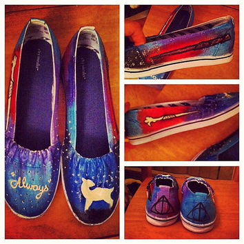 Hand painted Harry Potter themed shoes.