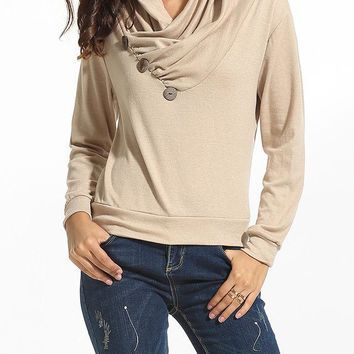 Casual Diagonal Buttons Cowl Neck Cotton Plain Sweatshirt
