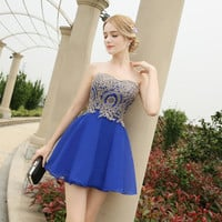 In Stock 2017 Robe De Soiree Short Evening Dresses Sweetheart Chiffon Prom Dresses Appliques Sleeveless Evening Gowns