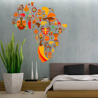 African Cultural Design Culture Africa Continent - Full Color Wall Decal Vinyl Decor Art Sticker Removable Mural Modern B144