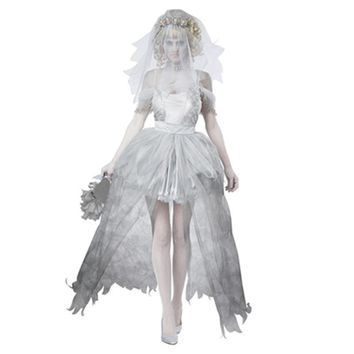 Corpse Bride  Adult Zombie Lace Long Dress  Halloween Costume Party