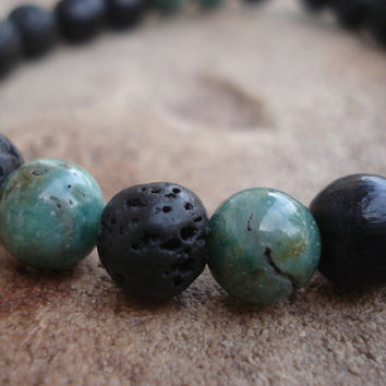 Lava Stone Mens Bracelet with African Jade and Black Wood
