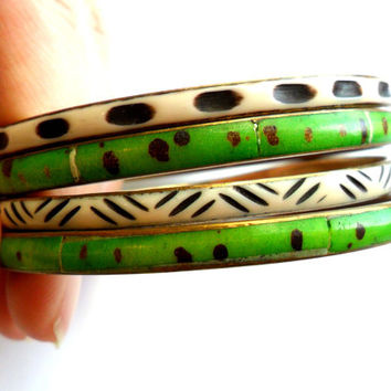 Vintage Boho Bangle Stack Ethnic Tribal Bone Horn Bracelets Brass Green White Black Brown Spots Stripes India Africa