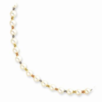 "14k Gold Tri-color White Pearl w/2"" Extension Necklace"
