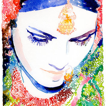 Archival Print Selection of Watercolor Fashion Illustration- Indian Wedding
