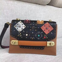 Coach Patch Rivets Pearl Shoulder Messenger Bag
