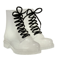 Clear Jelly Flat Heel Boots