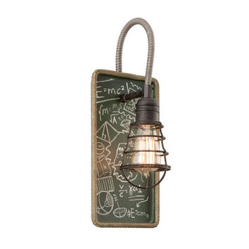Troy B3651 Relativity Salvage Zinc One-Light Wall Sconce with Chalkboard Interior